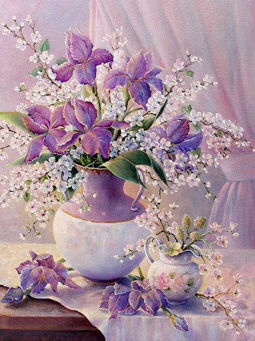 NEW 3D Diamond Painting full square drill Home decoration Cross Stitch Mosaic fabric Embroidery Kits rhinestones purple flower(China (Mainland))
