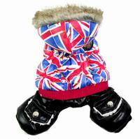 Newest Pet Coat European Style Flag Pattern Bubble Cotton Interlayer Autumn And Winter Clothes Cat Dog Supplies Warm Jumpsuit