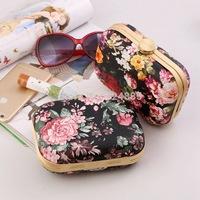New arrival original design print flower Handbags female sweet gentlewomen fashion mini evening bags 50013