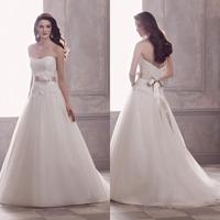 Cheap Elegant A-Line Sweetheart Floor Length Wedding Dress Bridal Gown Long Bridal Wedding Gown Backless Flower Bow F761