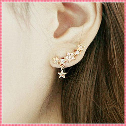 ER037 Full rhinestone little star designer stud earrings for women Romantic Korean style ladies earring
