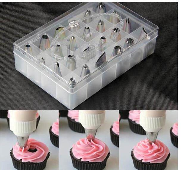 24pcs/set Icing Piping Nozzles Pastry Tips Cake Decorating DIY Tool Box Set(China (Mainland))