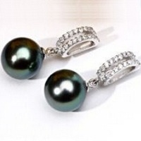 Natural 10-11mm AAA + round South Sea pearl earrings