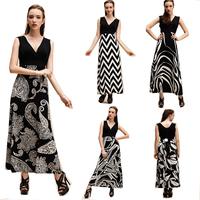 Women long Dress  V-neck 2015 Women Striped Dress Women's Clothing Black White women new dress party summer 7 Colors