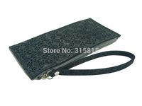 Women Grey Black Coins Purse Ladies Clutches Wallet with Felt Strap
