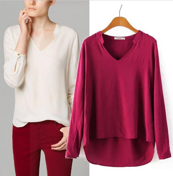Women Elegant Blouse New Fashion 2014 Long Sleeve V-Neck Cotton Lady Shirt Blouse Solid Loose Sheer Shirt Casual Tops(China (Mainland))