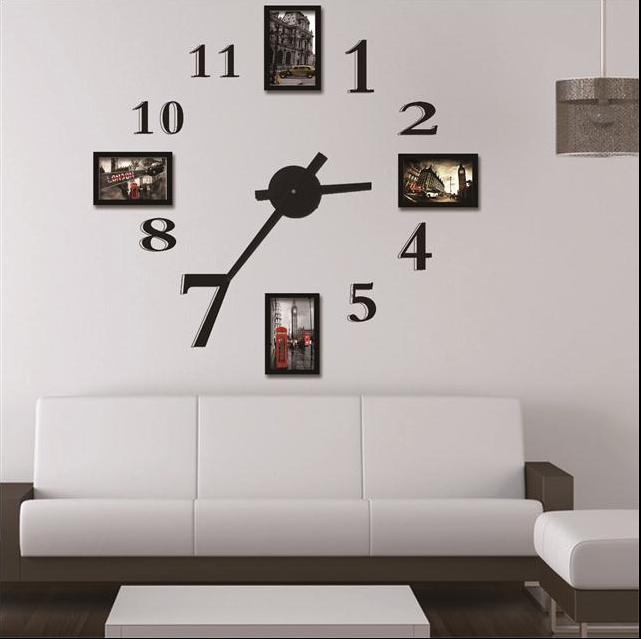 Buy photo frame wall clock modern design for Cadre mural design