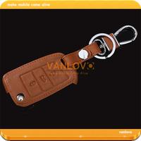 Brown Genuine Leather Car Key Bag for VW Golf 7 Remote Key