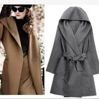 2014 new fashion women lady girl winter autumn slim long sleeve woolen coat adjustable long jacket high quality free shipping