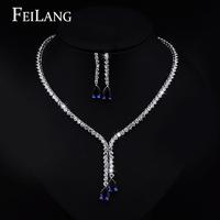 FEILANG Sparkling Water Drop Dangling Wedding Necklace and Earrings Bridal Dark Blue Sapphire CZ Diamond Jewelry Sets (FSSP100)