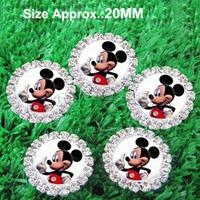 2014 NEW 100pcs/lot Micky Mouse rhinestone button scrapbooking embellishment headband DIY accessory
