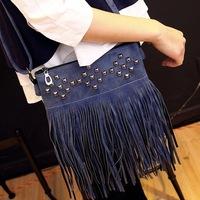 2015 designer handbags high quality women rivet shoulder cross body bags tassel messenger bags ladies tote black free shipping