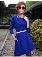High quality 2015 women autumn spring fashion dress elegance Slim 3/4 sleeve solid color dresses clothing plus size 5XL