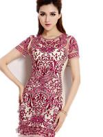 Free Shipping Women 2015 new women ladies small fragrant wind Eugen yarn gauze dress embroidered red dress  S M L XL XXL XXXL