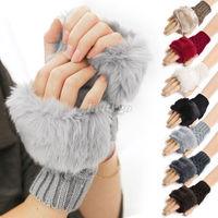 Wholesale New Winter Imitation Fur Rabbit Women Warm  Wool Gloves Fingerless Warmer Gloves / Knitted Mittens Black/Red for Xmas