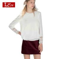 ECW New Arrivals 2015 Women Top Lace Spring Splice Solid  European Designer  Chiffon Women T Shirts Roupas Femininas