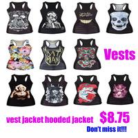 2015 New Hot Women's Casual Fashion Print Vest Sleeveless Jacket Coat Ladies Hoodie 11 kindsEmoji chandal mujer