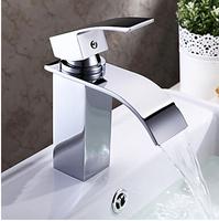 Waterfall Bathroom Sink Faucet (Chrome Finish) Chrome One Hole Single Handle Vessel Waterfall Bathroom Sink Faucet y-319