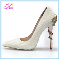 2014 Monsile girl white pearl crystal wedding shoes bride women's serpiform high-heeled pointed toe sexy payty single shoe pumps