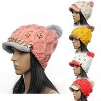 2015 Free Shipping Fashion Knitted Cap Wool Cap Woman Beanies Winter Hat Cap Woman  Hat Skull Accessories Women Hats For Women