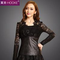 High Quality PU leather + Patchwork Lace Shirt Spring  Large Size S-5XL Roupas Femininas V-neck Slim Women Gauze Blouses