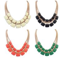 Classic Geometric Choker Necklace Layered Faux Stone Bib Necklace New Fashion Statement Jewelry Women BJN911894