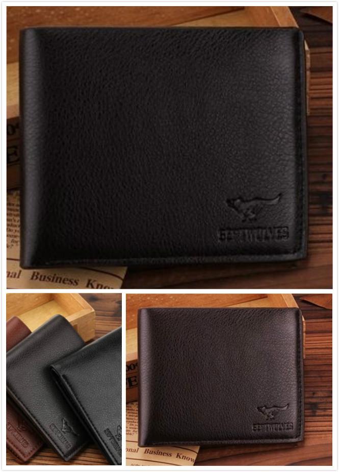 2015 Brand Designer Fashion Men's Wallet Famous Leather Wallet Purse No Zipper Cowhide Wallets For Men Wallets(China (Mainland))