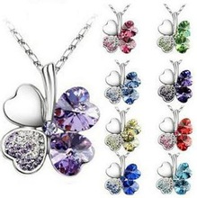 Necklace Pendant Necklaces High Quality Crystal Clovers Vintage Long Fashion Necklace For Women 2014 Jewelry Accessories