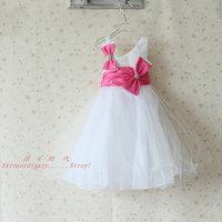 2015 Time-limited Ball Gown New Girls Dress Princess Children's Wear Party Veil Big Bow Girl Wedding Flower Baby Dress,christmas