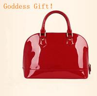 European fashion  women lacquer bag PUleather shell bags Handbag shoulder bag women handbags Medium cellphone bag