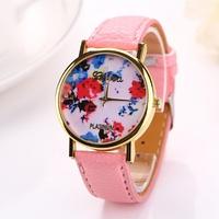 Rose gold fashions quartz watch for female Clock relogios relojes Geneva watch Women dress watches leather strap Flower XR712