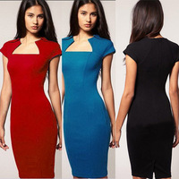 Real Pictures New 2015Spring Black/Blue/Red Women Business Dresses Elegant Stretch Slim Bodycon Party Pencil Vintage Dress  S-XL