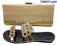 3cm flat shoes fashion women's sandal matching  bag  CSB6072 gold&black