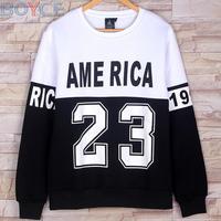 2015 Winter Fleece Cotton Pullover HBA Brand Men Black Blazer Hoodies Coat Fashion Hip Hop America Bulls 23 Sweatshirt