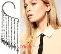Punk Silver spikes rivets fringed tassel women's fashion ear cuff earrings 260905-260907