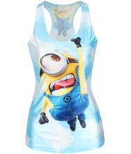 Women Tank Despicable Me Print Minions Women t shirt New 2015 Stuart Fashion Blue Camisole Female