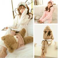 Animal cartoon rabbit ear sleepwear winter coral fleece thickening plus velvet lounge set female H0894