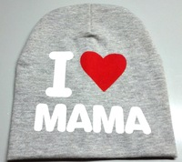 fashion new I Love Mama&Papa baby cotton beanie hat boys and girls skullies cap for kids accessories Free Shipping