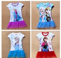 2014 cartoon Summer children dress 2-8yrs Girls' Frozen Dress kid's tutu girl's princess dress girl's lovable dress casual dress