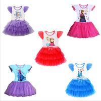 Frozen dress Girl Elsa Anna clothes New 2014 casual dress summer Cartoon clothing cute bow Girl sleepwear Kids Clothes vestidos