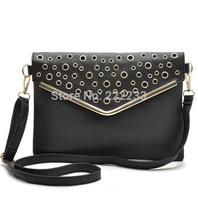 Rivets metal ring Envelope package black leather messenger shoulder handbags fashion trend women bags bg0277