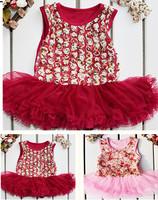 2Pic Newborn girls summer Bodysuits dress baby tutu dress+Headband Party Princess rose clothes Sets 0-24M Rompers roupas de bebe