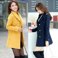 2015 Luxury British Style Women Winter Long Thick Warm Wool Outerwear Coat Slim Ladies Fashion Trench Coats Epaulet Overcoat