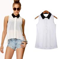 Women Blouse New 2015 Brand Sexy Stud Collar Sleeveless Chiffon Shirt Casual White Rivet Plus Size Tee Tops Blusa Femininas XD04