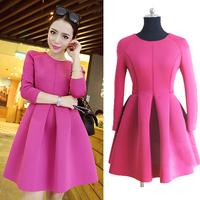2015 Fashion Thick Women Plus Size Winter Slim Ball Gown Dresses Ladies Brand Long Sleeve Rose Color Cute Princess Dress