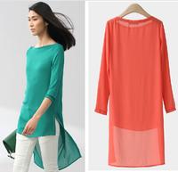 blusas femininas 2015 candy Color Women Blouse Tropical Tops Casual Chiffon Blouse Cheap Clothes China plus size S-5XL  vestidos