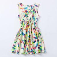 2015 Casual Dress Vestidos Tropical Printed Bohemian Sleeveless Roupas Femininas Clothing Summer Women Dress Vestidos De Renda