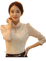 Free Shipping 2015 Autumn Winter Ladies Thick Warm Lace Shirts, High Collar stylish Blouses for Ol