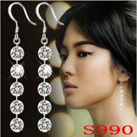 Free shipping AAA zircon 990 sterling silver ear hook earrings ruby pendant