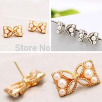 Korean jewelry Bow imitation pearl earrings fashion women's stud earring 533